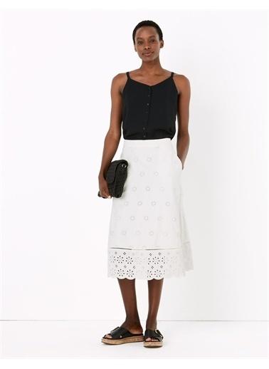 Marks & Spencer Çiçek Desenli Etek Beyaz